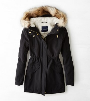 american eagle black puffer jacket