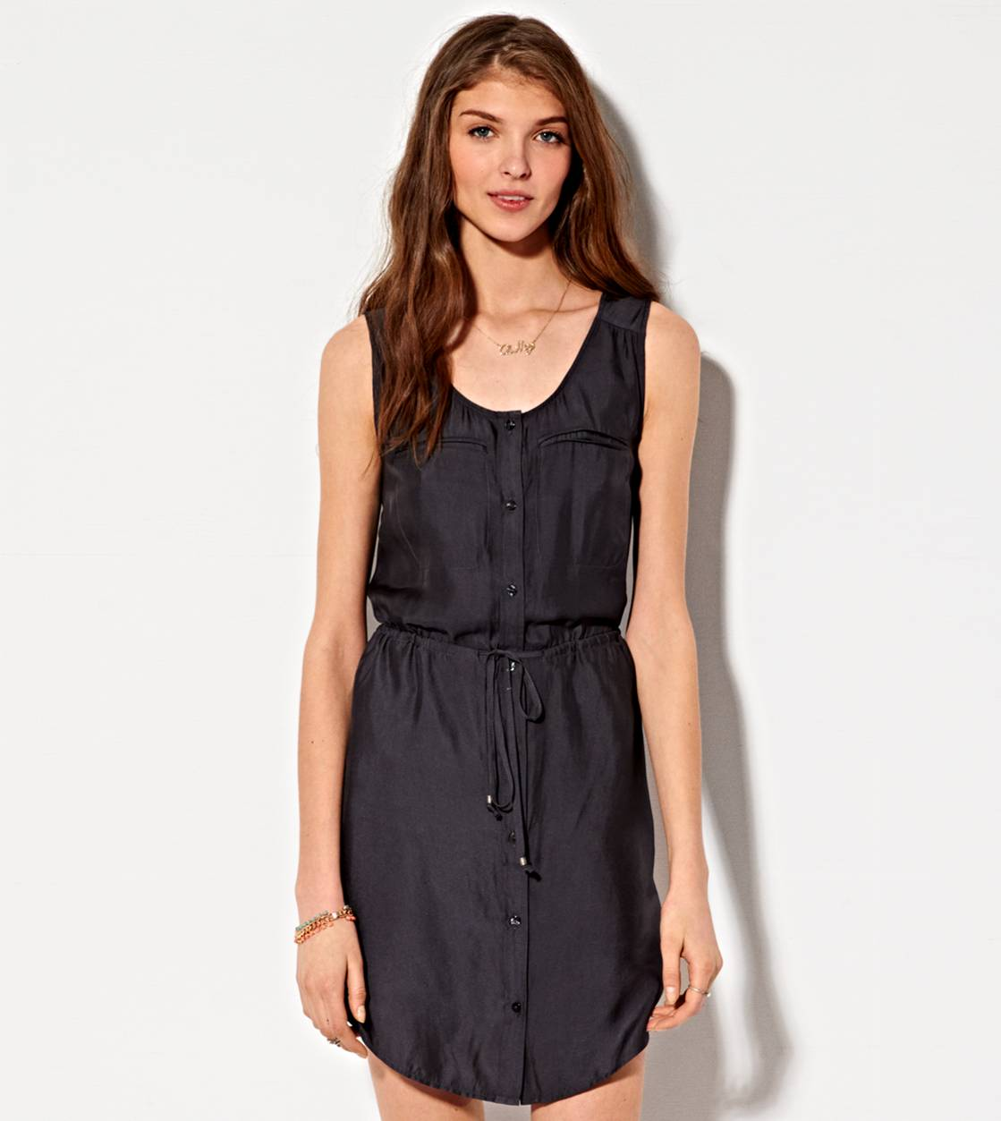 Washed Black AE Silky Utility Shirt Dress