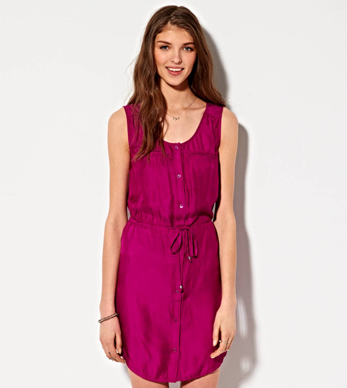 Purple Coast AE Silky Utility Shirt Dress