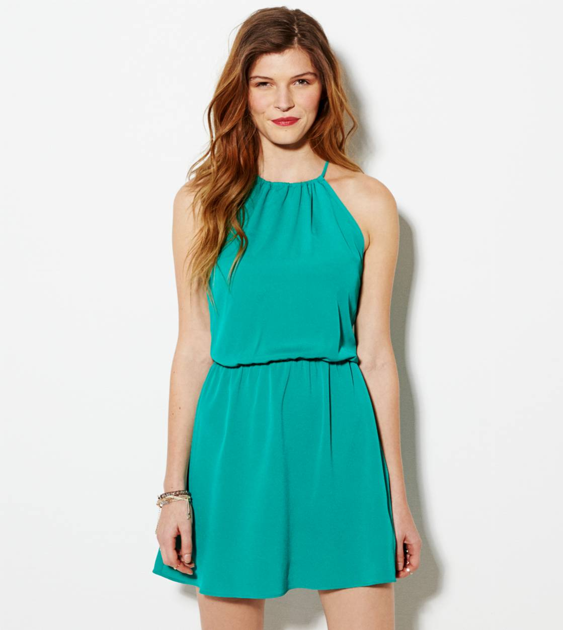 Green AE Halter Party Dress