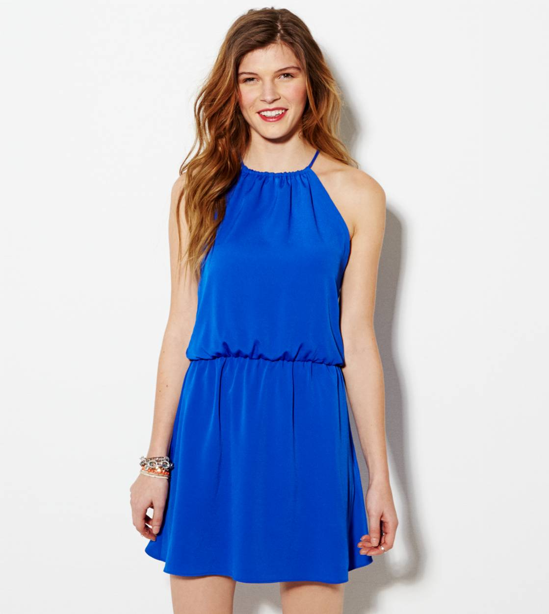 Electric Cobalt AE Halter Party Dress