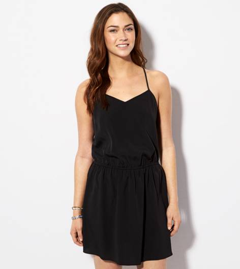 Black AE Cinched Waist Racerback Dress