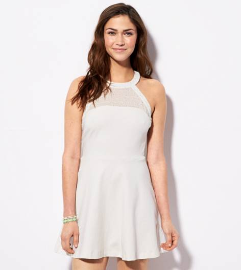 White  AE Fit & Flare Halter Dress