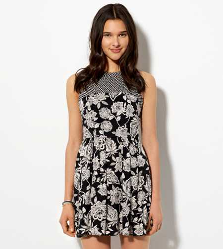 AE Printed Fit & Flare Dress