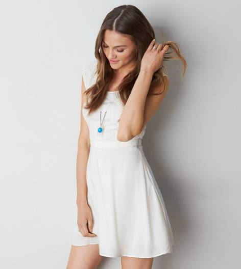 Cream AEO Crocheted Paneled Dress