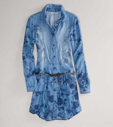 AE Printed Denim Shirtdress