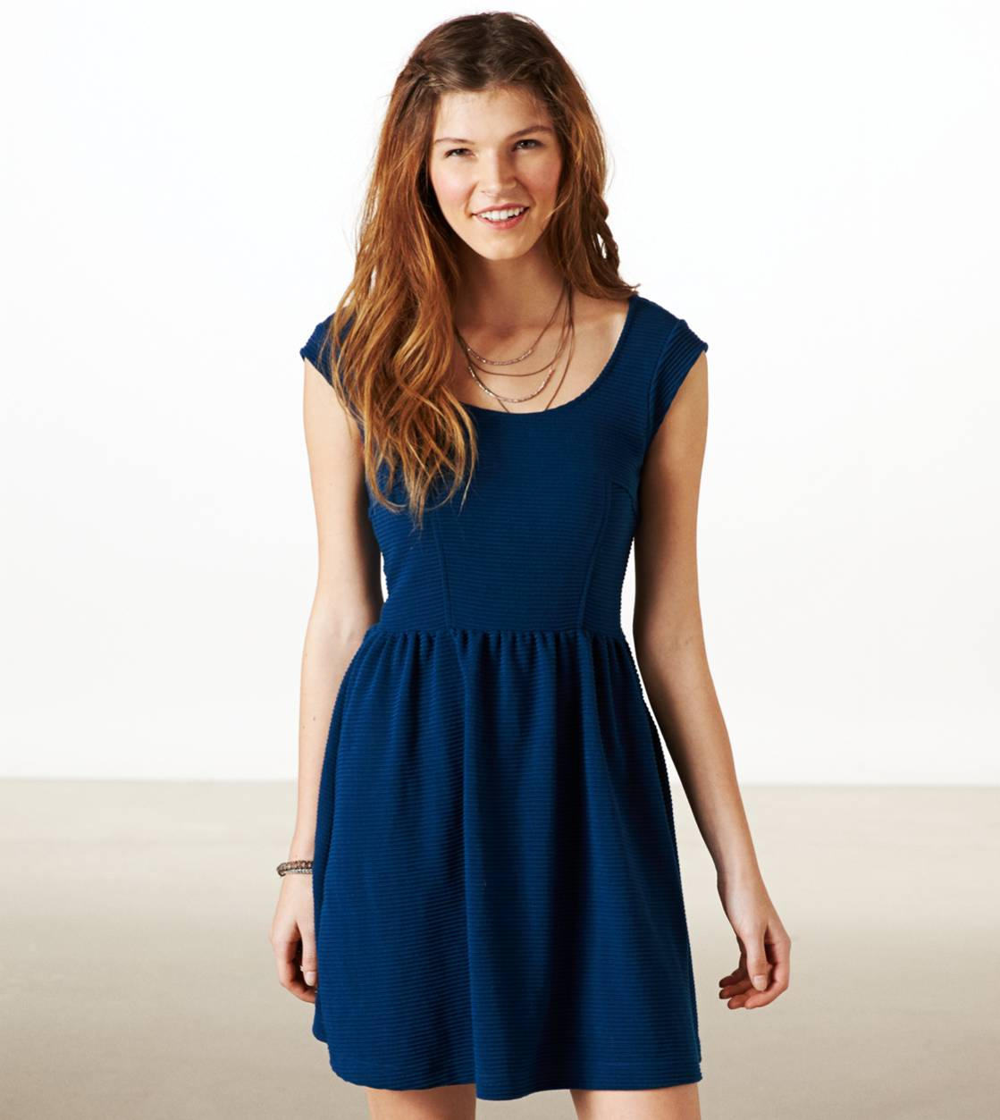 Poseidon Blue AE Ribbed Fit & Flare Dress