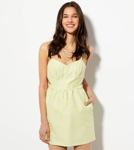 Yellow AE Cutout Jacquard Sundress