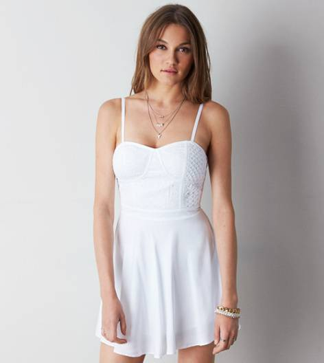 White  AEO Eyelet Corset Dress