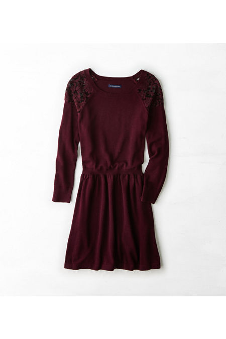 Aeo Lace Shoulder Sweater Dress Aeo Lace Shoulder Sweater