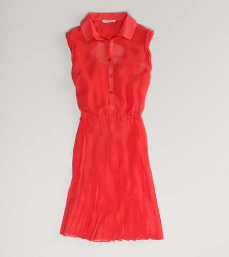 AE Pleated Chiffon Shirtdress
