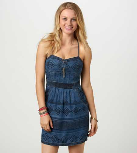 AE Printed Denim Corset Dress