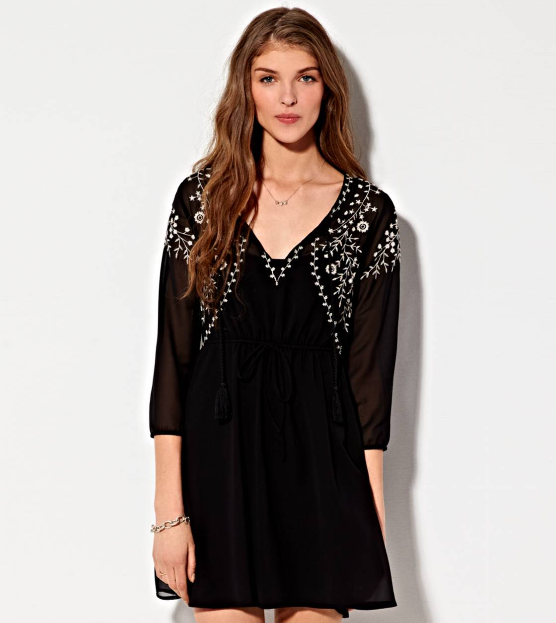 Black AE Embroidered Chiffon Dress