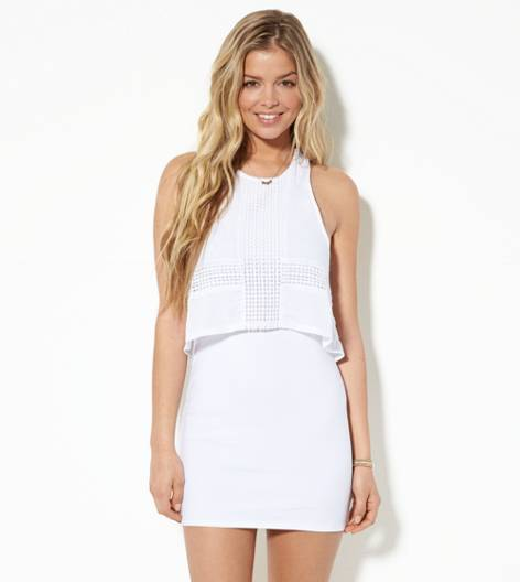 White  AE Overlay Bodycon Dress