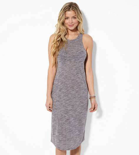 Grey AE Heathered Bodycon Midi Dress