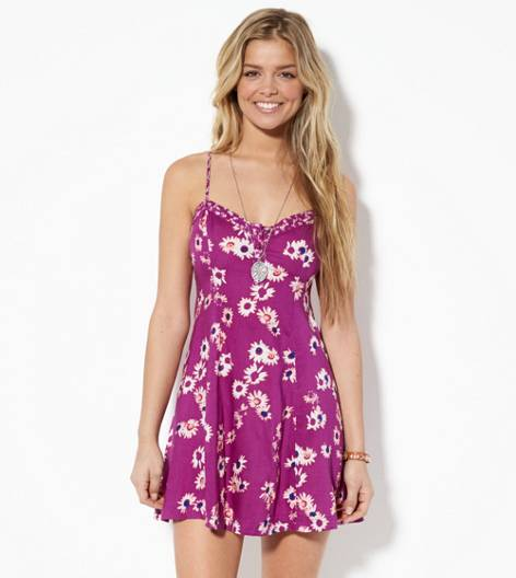 Purple AEO Flower Printed Sundress