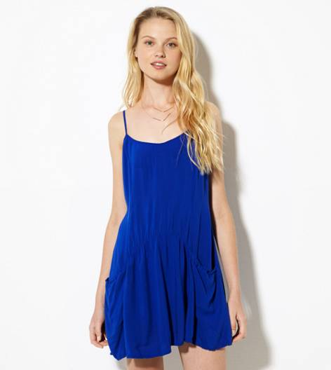 Cobalt Blue AE Drop Waist Slip Dress