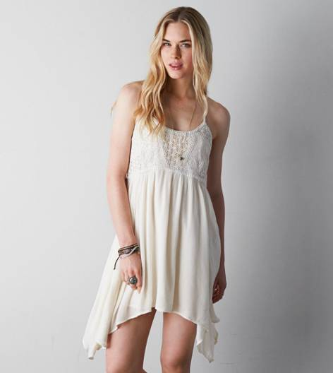 Cream AEO Crocheted Babydoll Dress