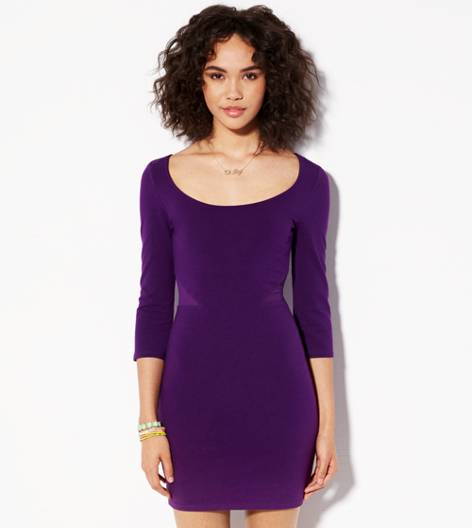 Purple Fizz AE Mesh Cutout Bodycon Dress