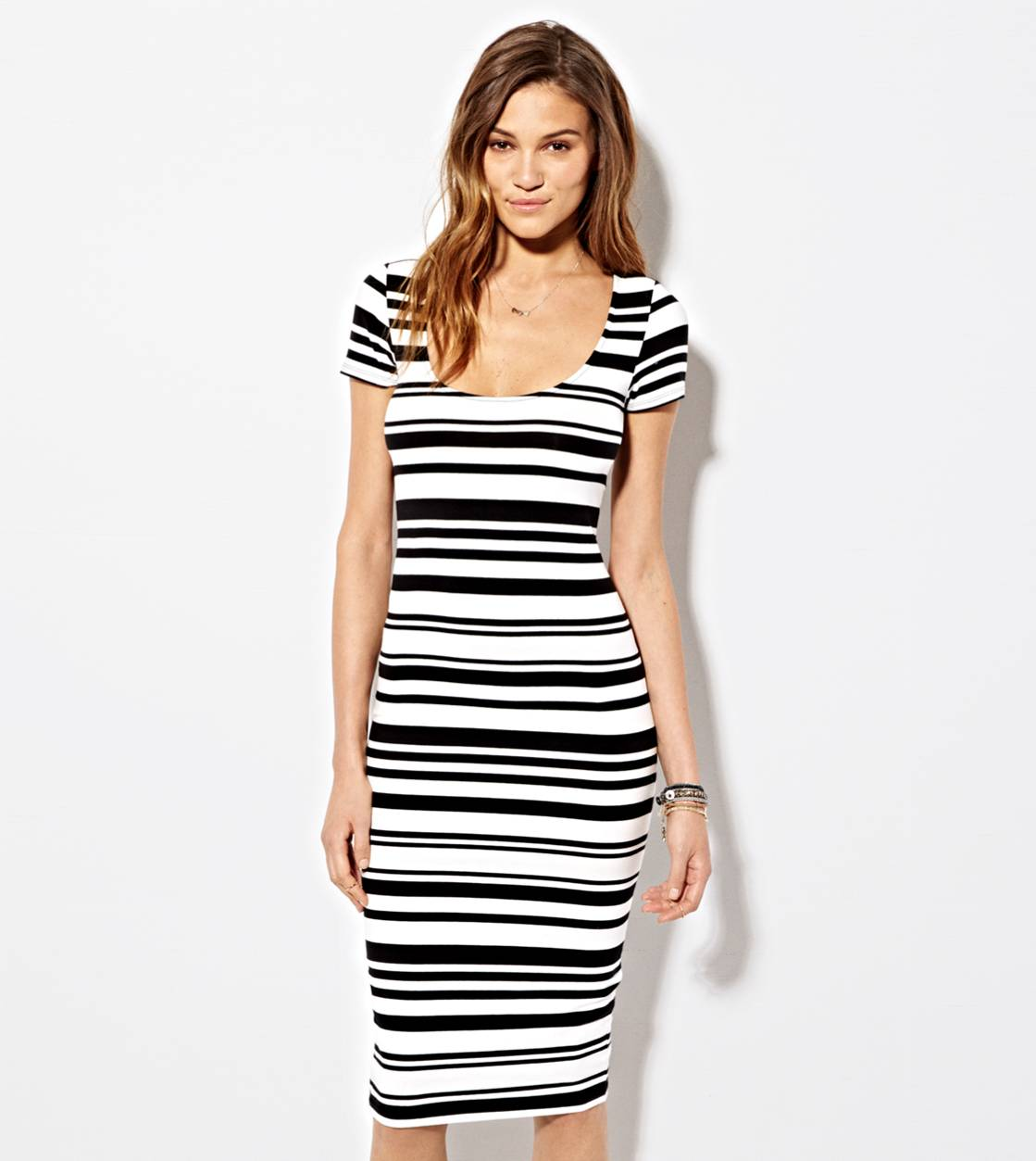 Black AE Printed Bodycon Midi Dress