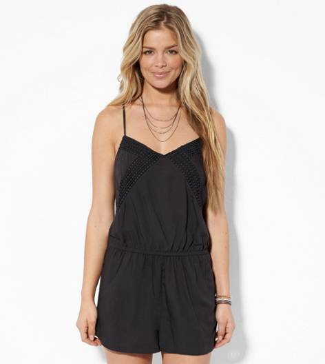 Black AE Crocheted Romper