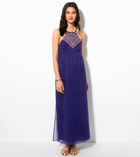 Blue AE Embroidered Halter Maxi Dress