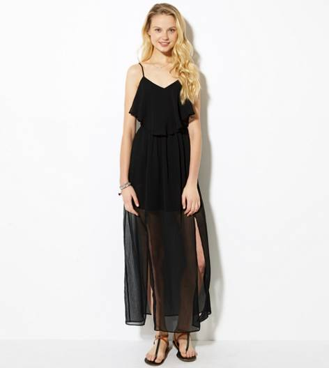 Black AE Ruffled Maxi Dress