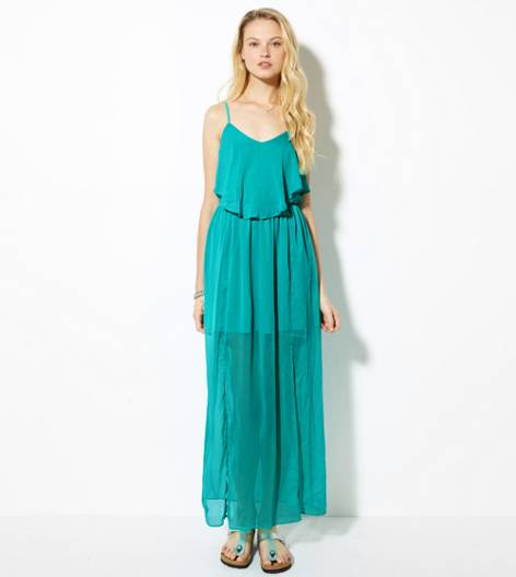 Seagrass AE Ruffled Maxi Dress