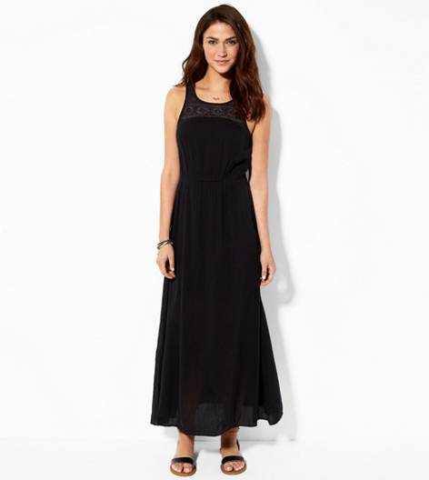 Black AE Cinched Gauze Maxi Dress