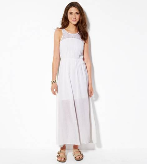 White  AE Cinched Gauze Maxi Dress