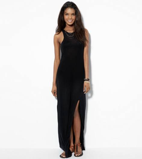 Black AE Side Slit Maxi Tank Dress