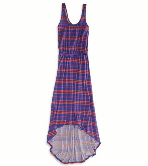 Blue AE Striped Cinched Hi-lo Maxi Dress