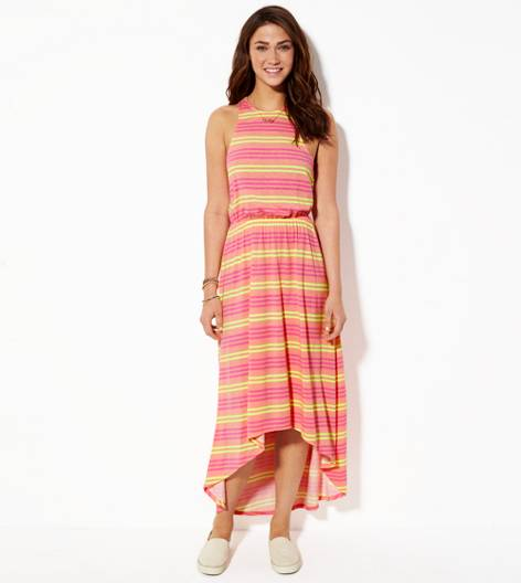 Pink AE Striped Cinched Hi-lo Maxi Dress