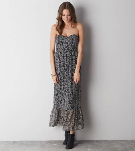 Black AE Printed Corset Maxi Dress