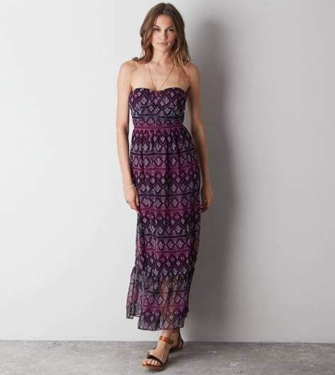 Purple AE Printed Corset Maxi Dress