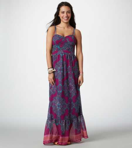 AE Printed Corset Maxi Dress