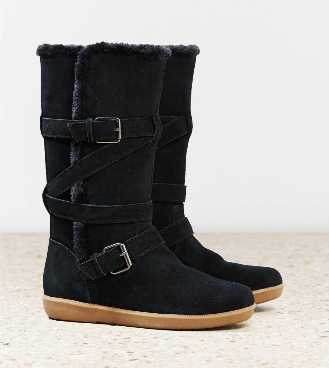 Black AEO Buckle Strap Cozy Boot