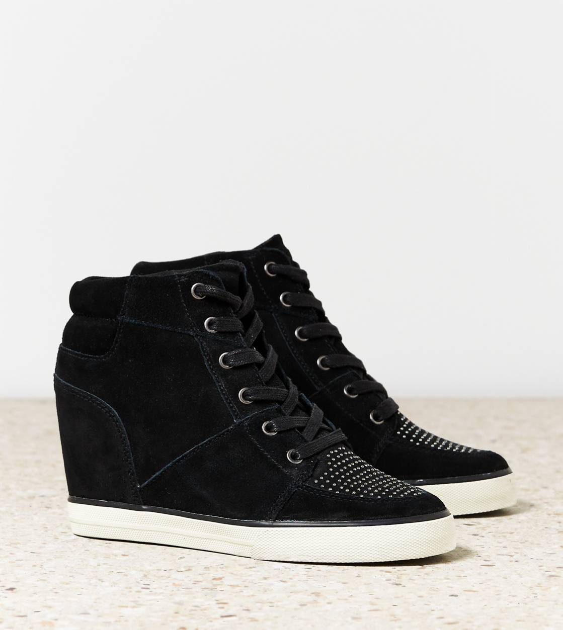 Black AEO Studded Wedge Sneaker