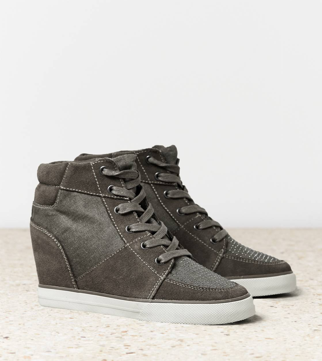 Grey AEO Studded Wedge Sneaker