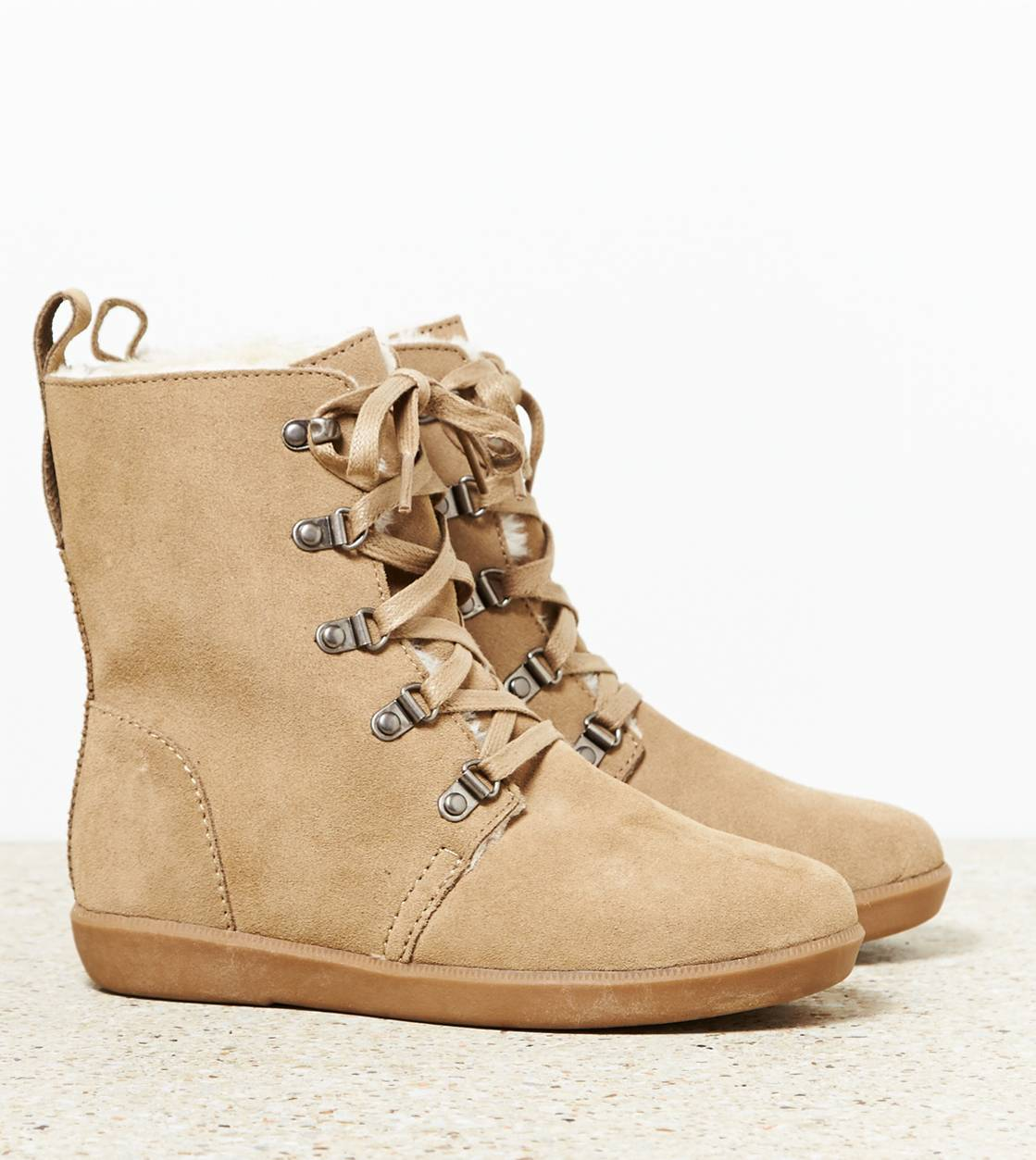 Sand AEO Lace Up Cozy Boot
