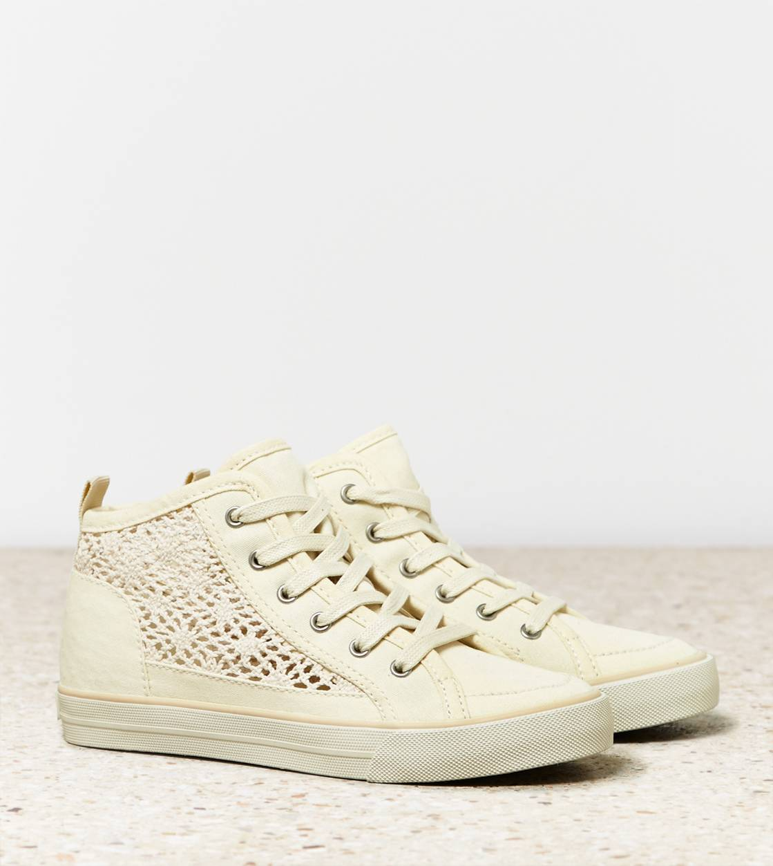 Natural AEO Crocheted Hi-Top Sneaker