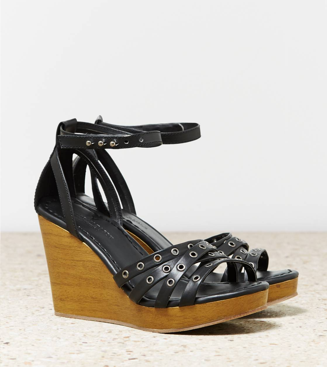 Black AEO Strappy Grommet Wedge