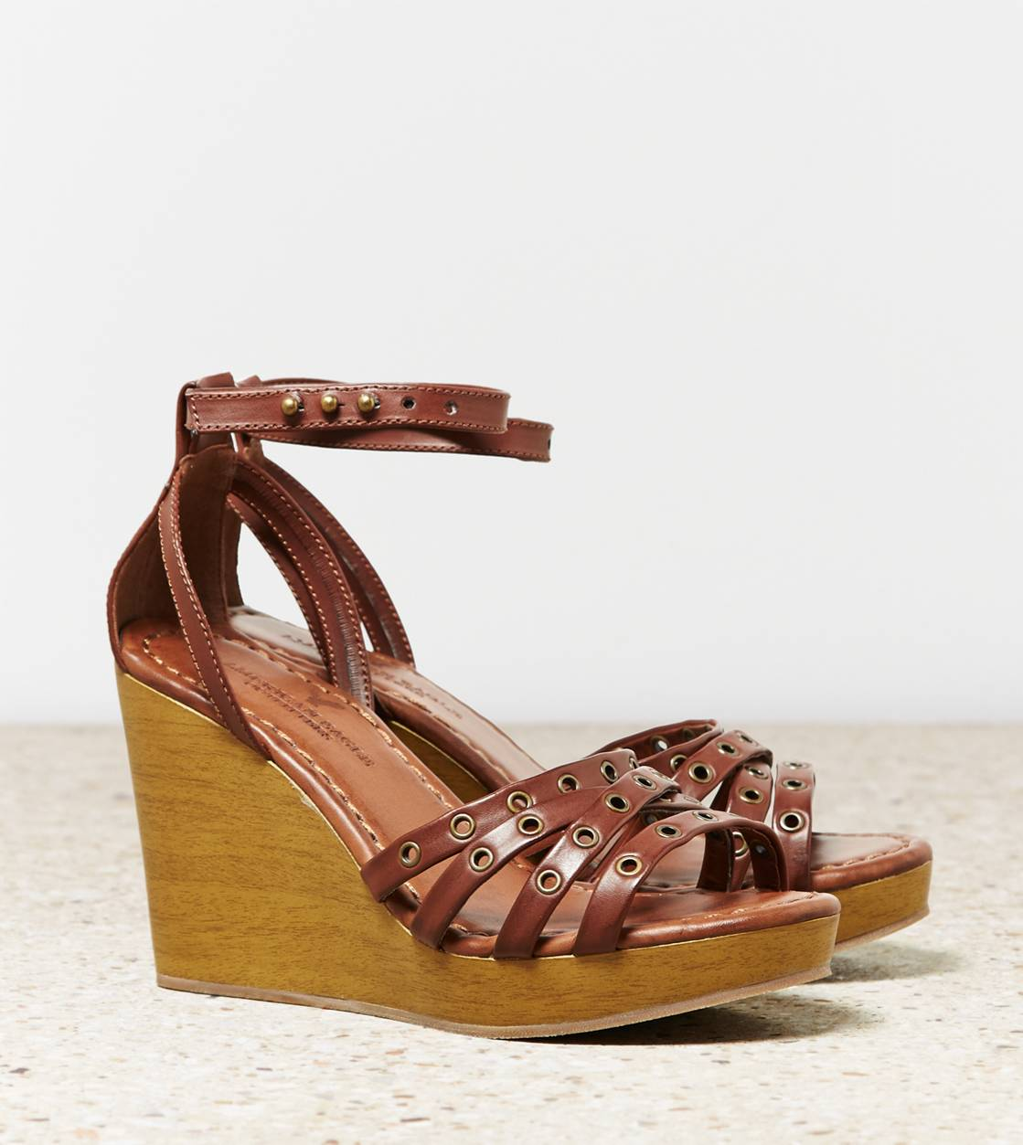 Brown AEO Strappy Grommet Wedge