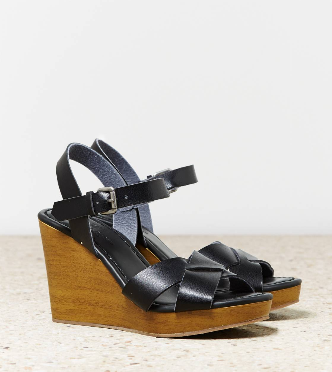Black AEO Strappy Wooden Wedge