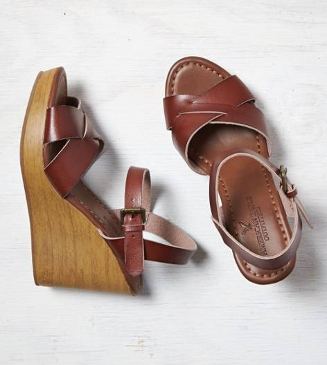 Brown AEO Strappy Wooden Wedge