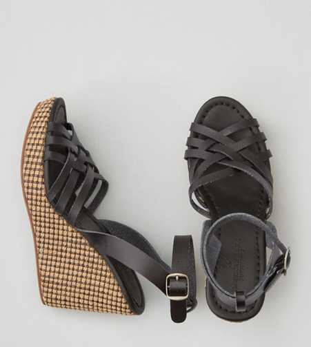 AEO Strappy Ankle Wrap Wedge Sandal