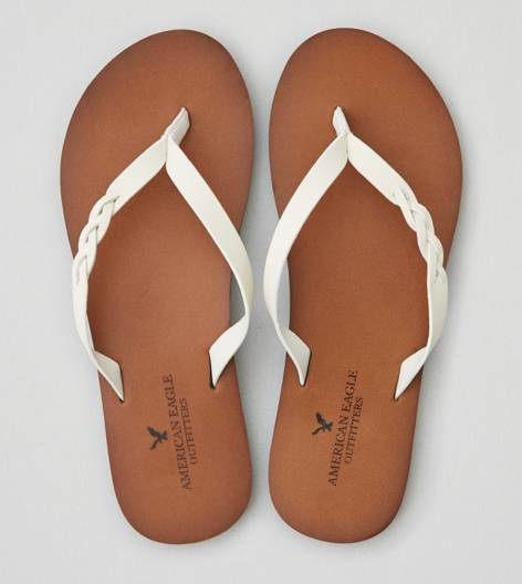 White  AEO Braided Flip-Flop