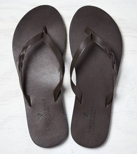 Dark Brown AEO Braided Flip-Flop