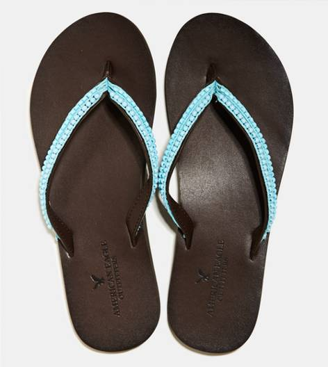 Aqua Key AEO Beaded Leather Flip Flop