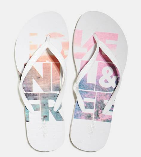 Fresh White AEO Printed Rubber Flip Flop